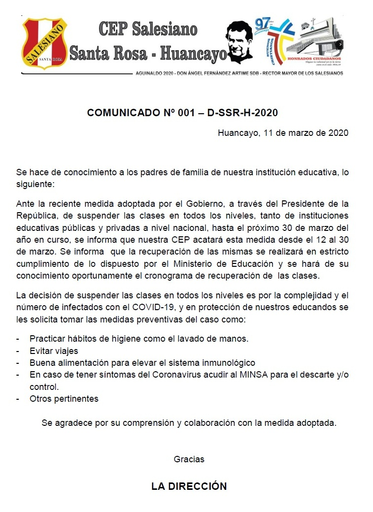 COMUNICADO SUSPENSION CLASES
