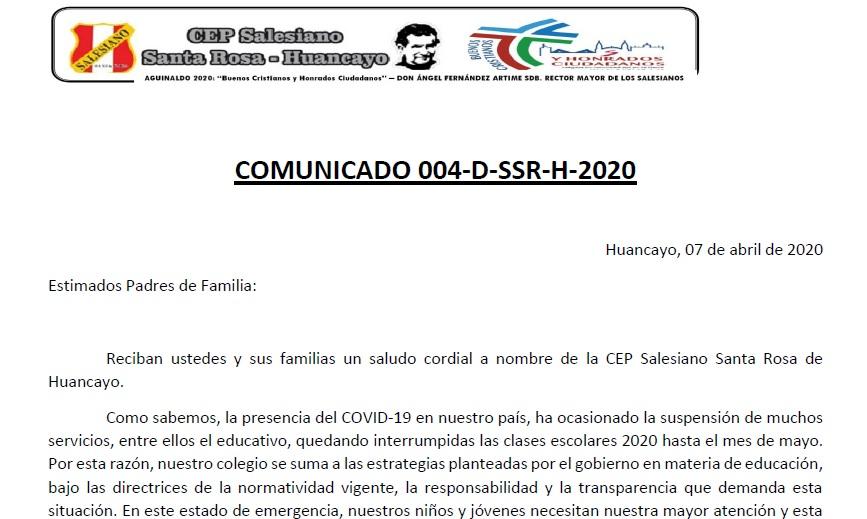 COMUNICADO 004 ENCAB